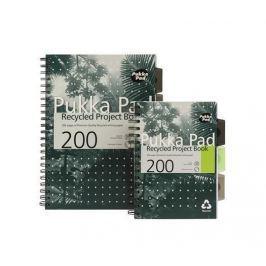 PUKKA PAD Blok, A4, zelená, recyklovaný, linkovaný, 100 listů, spirálová vazba,