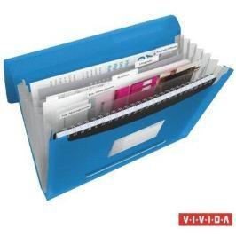 ESSELTE Aktovka s držadlem a 6 přihrádkami, Vivida modrá, A4, plast,