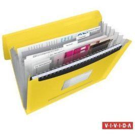 ESSELTE Aktovka s držadlem a 6 přihrádkami, Vivida žlutá, A4, plast,