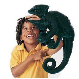 FOLKMANIS PUPPETS Chameleon (pohyblivý plyšák na ruku),