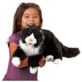 FOLKMANIS PUPPETS Kočka Tuxedo (pohyblivý plyšák na ruku),