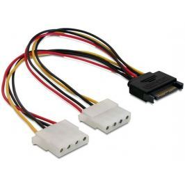 DeLock Power Adapter SATA 15-pin samec na 2x Molex 4-pin samice, 20cm