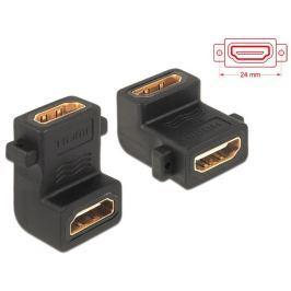 DeLock adaptér HDMI A samice/samice, s otvory pro šroubky,pravoúhlý 90°