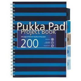 PUKKA PAD Blok s rozdělovači Navy project book, A4, modrá, čtverečkovaný, 100 listů, spi