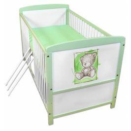 NELLYS Dřevěná postýlka 2 v 1  Sweet Dreams by Teddy - zelená/bílá, 120x60