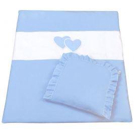 Mamo Tato Set do kočárku s výšivkou lux 2D - Srdce - modrá, 2 dílná