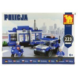 Dromader Stavebnica  Policie Stanice + Auto + Motorka 223ks v krabici 35x25x6cm