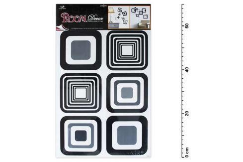 Samolepící dekorace 1062 černé čtverce 70x42cm Samolepky na zeď