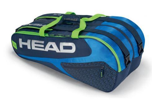 Head Taška na rakety  Elite Supercombi 9R Blue/Green Squashové tašky