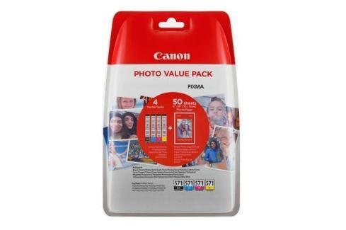 Canon CLI-571XL C/M/Y/BK + 50x PP-201 Náplň - černá