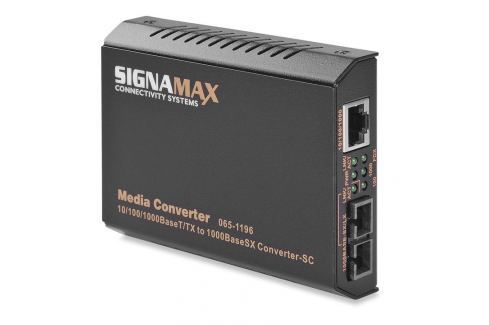 065-1196 Signamax media konvertor 10/100/1000Base-T/TX RJ-45 - 1000Base-FX SC MM IT