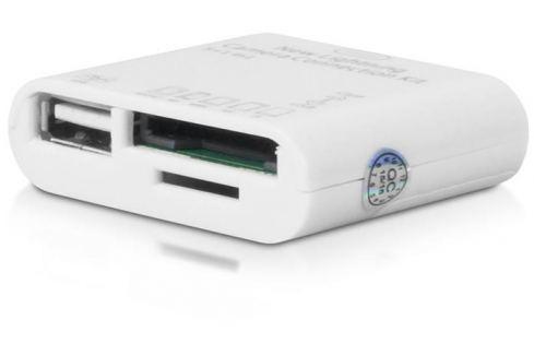 4World Čtečka karet 5 v 1 + USB pro iPhone 5/iPad 4/iPad Mini | Lightning | bílý Čtečky paměťových karet