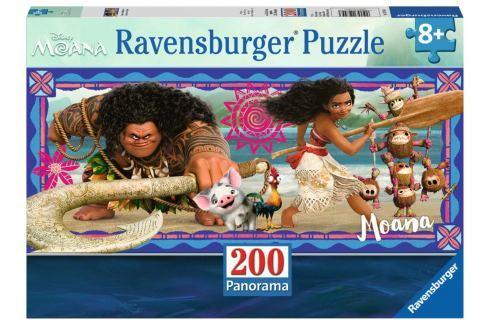 RAVENSBURGER Panoramatické puzzle Odvážná Vaiana: Dobrodružství XXL 200 dílků Puzzle