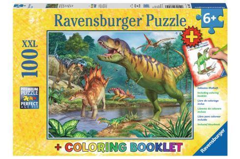 RAVENSBURGER Puzzle Pravěký svět dinosaurů XXL 100 dílků + omalovánky Puzzle