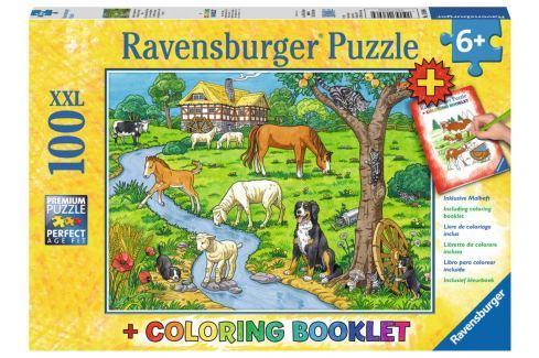 RAVENSBURGER Puzzle Zvířátka na farmě XXL 100 dílků + omalovánky Puzzle
