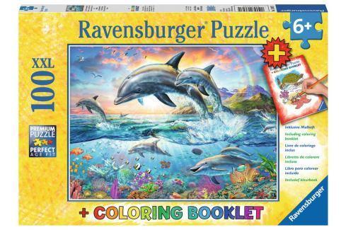 RAVENSBURGER Puzzle Delfíni XXL 100 dílků + omalovánky Puzzle