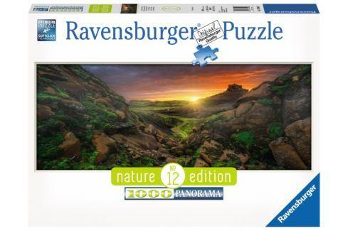RAVENSBURGER Panoramatické puzzle Západ slunce nad Islandem 1000 dílků Puzzle