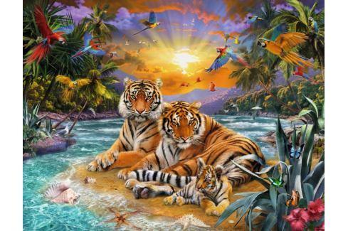 RAVENSBURGER Puzzle Tygří rodina při západu slunce 2000 dílků Puzzle