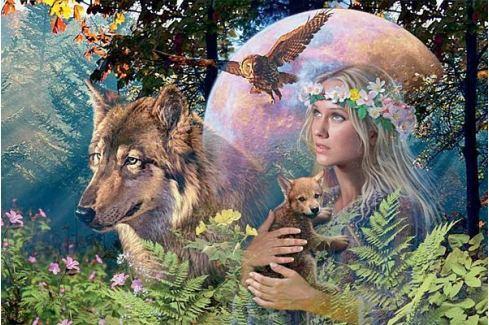 RAVENSBURGER Puzzle  3000 dílků - Lesní paní - Vlk ve svitu měsíce Puzzle
