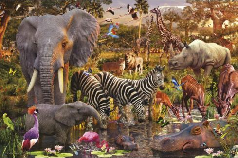 RAVENSBURGER Puzzle  3000 dílků - D.Penfound, Africká zvířata Puzzle