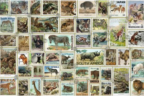 RAVENSBURGER Puzzle Známky se zvířaty 3000 dílků Puzzle