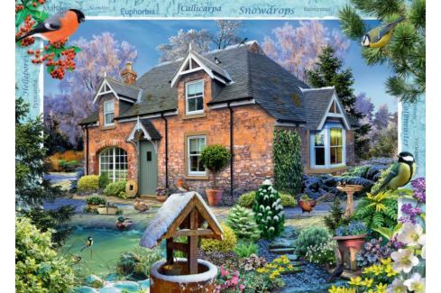 RAVENSBURGER Puzzle Domek se sněženkami (Snowdrop Cottage) 1000 dílků Puzzle