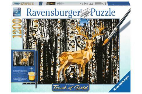 RAVENSBURGER Puzzle Touch of Gold Jelen v březovém lese 1200 dílků Puzzle