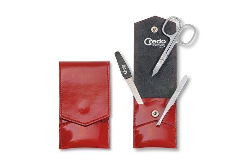 Credo Solingen Luxusní 3 dílná manikúra v červeném pouzdře se sametem Fire 3 Přípravky pro péči o ruce a nehty