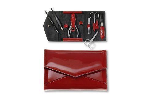 Credo Solingen Luxusní 7 dílná manikúra v červeném koženkovém pouzdře Fire 7 Přípravky pro péči o ruce a nehty