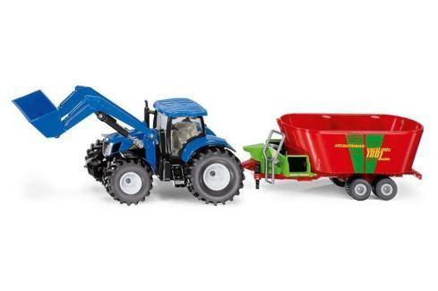 SIKU Farmer - Traktor New Holland s předním nakladačem a vlekem Auta, letadla, lodě