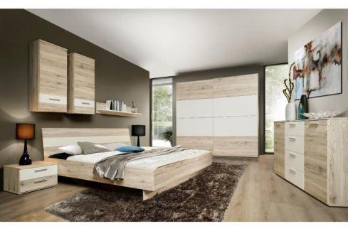Tempo Kondela Ložnice, skříň + postel +2 ks noční stolky, dub písková/bílá, VALERIA Ložnice