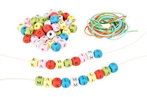 Dřevěné barevné navlékací korálky písmenkové Dětské korálky