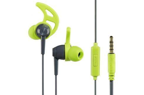 Hama sluchátka s mikrofonem Action, silikonové špunty, šedá/zelená Sluchátka, handsfree