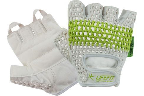 Rulyt Fitnes rukavice LIFEFIT FIT, bílo-zelené::M Opasky, háky a fitness rukavice