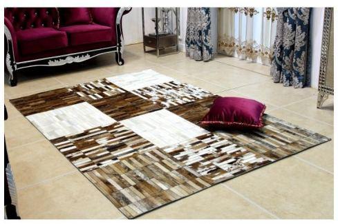 Tempo Kondela Luxusní koberec, kůže, typ patchworku, 69x140 cm, KOBEREC KOŽA typ4 Koberce metráž