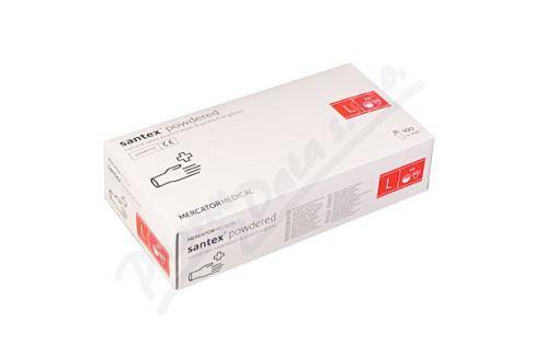 MERCATOR MEDICAL Rukavice latexové Santex powdered L 100ks Pracovní rukavice