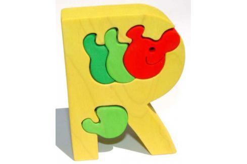 Dřevěné vkládací puzzle z masivu- Abeceda písmenko R červík Puzzle